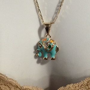 Jewelry - Gold plated necklace w baby elephant